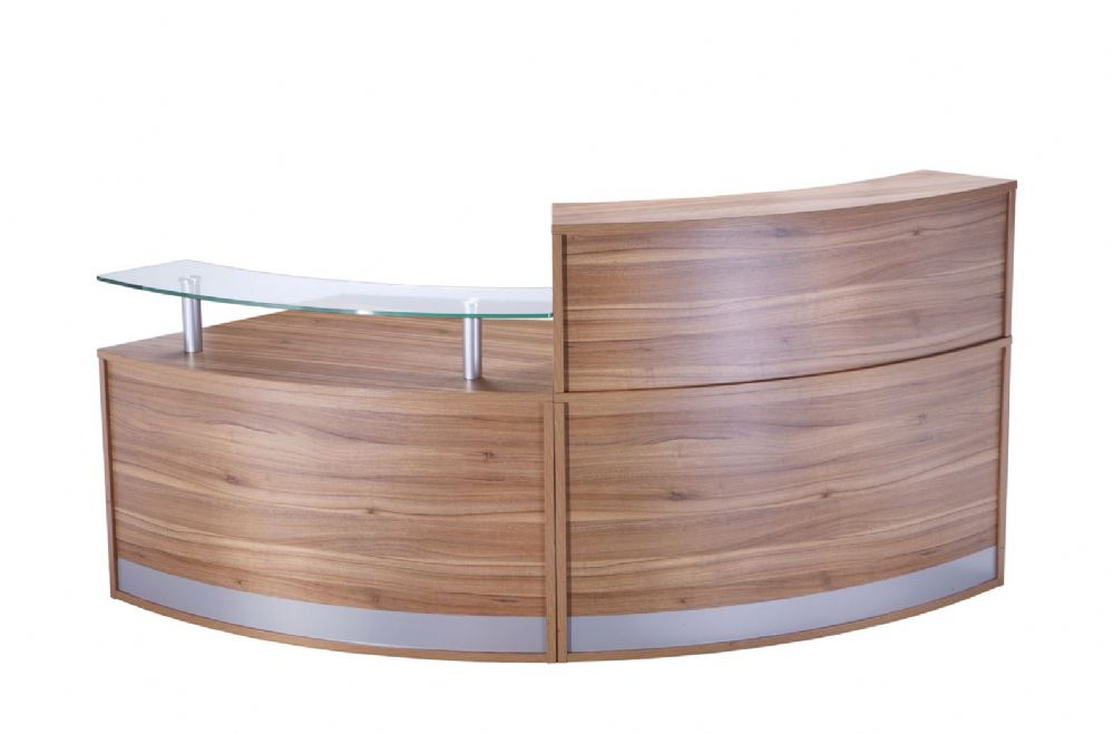 Two Section Curved Reception Counter|Dual Heights|Two Sections|872mm Deep|Choice of Finish